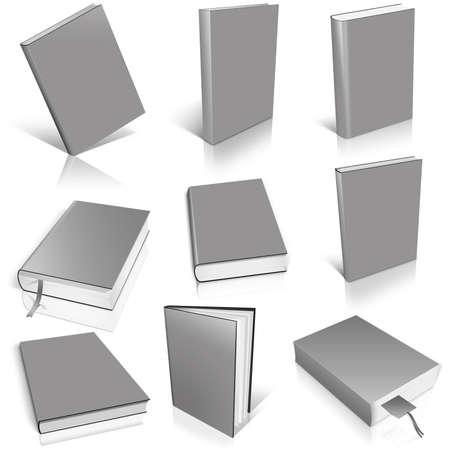 白い背景の上 9 灰色空本テンプレート。 写真素材