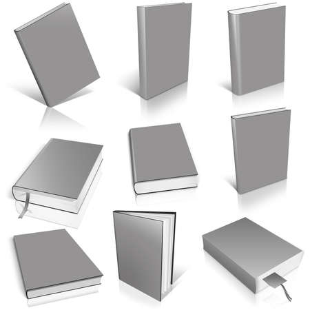 Nine grey empty book template on white background. Фото со стока