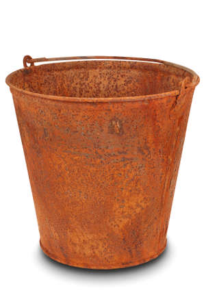 Rusty bucket on white. Clipping path inside. Stock Photo - 18377524