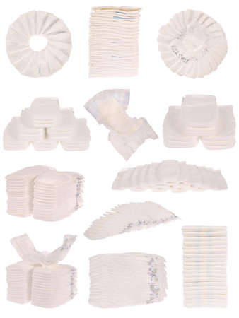 Baby diapers isolated on white Stock Photo - 18713552