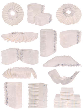Baby diapers isolated on white Stock Photo - 18713553