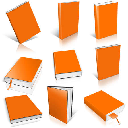 paperback book: Nine orange empty book template on white background.
