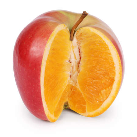 Apple and an orange combined into one piece of fruit on white. Clipping path included.