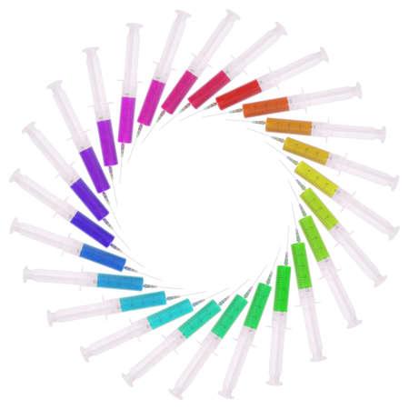 Syringe with medicine multicolored on white  Located circumferentially