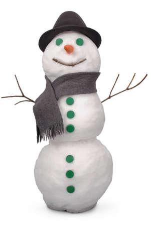 ホワイト雪だるま whith スカーフと帽子を感じた。白地。