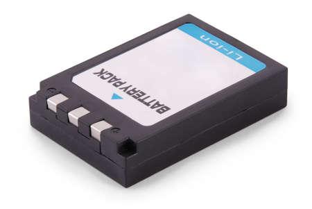 白地黒リチウムイオン バッテリー パック。 写真素材