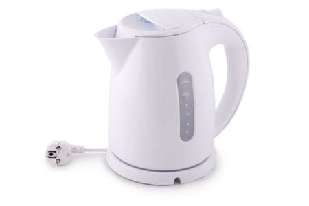 electric kettle: Modern electric kettle on white Stock Photo
