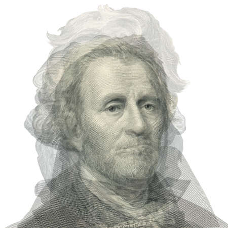 alexander hamilton: Abstract portrait of presidents. Overlay face with George Washington, Thomas Jefferson, Abraham Lincoln, Alexander Hamilton, Andrew Jackson, Ulysses S  Grant and Benjamin Franklin. Stock Photo