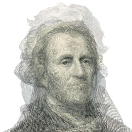 alexander hamilton: Ritratto astratto dei presidenti. Sovrapposizione faccia con George Washington, Thomas Jefferson, Abraham Lincoln, Alexander Hamilton, Andrew Jackson, Ulysses Simpson Grant e Benjamin Franklin.