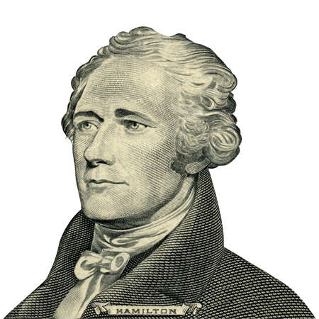 Portrait of U.S. president Alexander Hamilton as he looks on ten dollar bill obverse. Clipping path included.