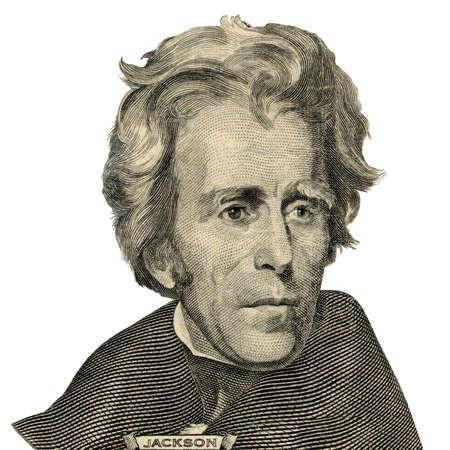 彼は見える 20 ドル紙幣の表側として前米国大統領 Andrew Jackson の肖像画。 写真素材