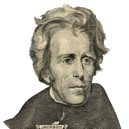 Portrait of former U.S. president Andrew Jackson as he looks on twenty dollar bill obverse.
