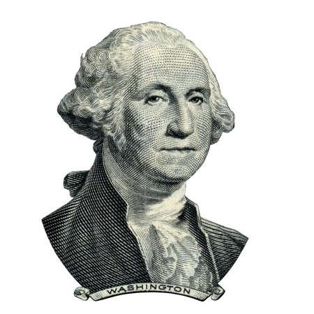 彼は 1 ドル紙幣の表側に見えるとして最初の米国大統領ジョージ ・ ワシントンの肖像画。クリッピングパスの内側。 写真素材