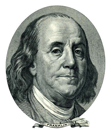 米国の政治家、発明者、および彼は 100 ドル法案表側として外交官ベンジャミン ・ フランクリンの肖像画。