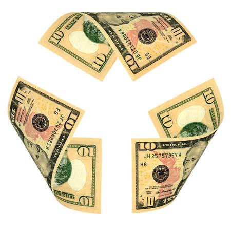 alexander hamilton: Dollar Bill riciclare, segno isolato su bianco. Tutte le banconote sono diverse
