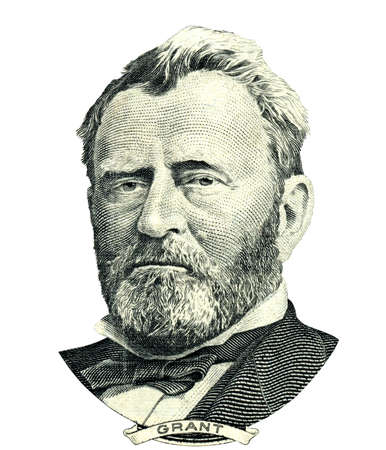 fifty dollar bill: Portrait of U.S. statesman, inventor, and diplomat Ulysses S. Grant as he looks on fifty dollar bill obverse. Clipping path included.