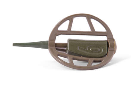 swivel: Feeder for fishing in weight sixty gramme with swivel isolated on white.