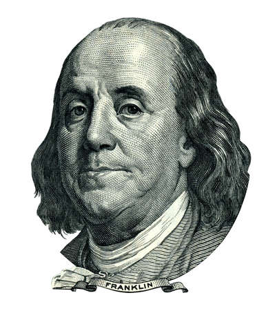 Portrait of U.S. statesman, inventor, and diplomat Benjamin Franklin as he looks on one hundred dollar bill obverse. Clipping path included.