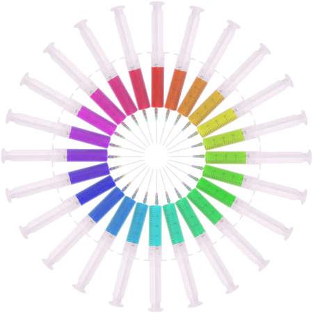 Syringe with medicine multicolored on white. Located circumferentially