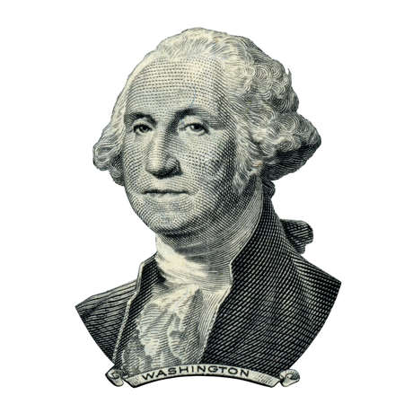obverse: Portrait of first USA president George Washington as he looks on one dollar bill obverse. Clipping path inside.