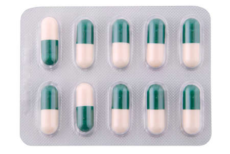 troche: Capsules with a medicine in packing, tablets. Clipping path included.