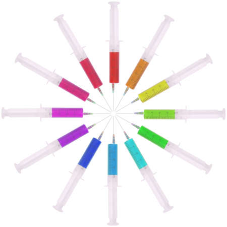 Syringe with medicine multicolored on white. Located circumferentially