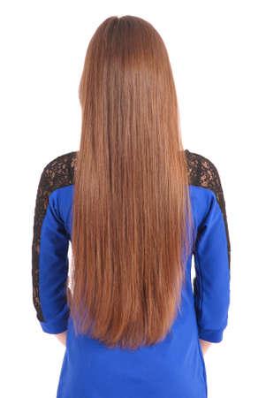 personas de espalda: Chica con el pelo hermoso marr�n natural aislado en blanco