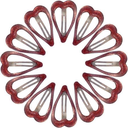 barrettes: Fermagli per capelli rossi in un cerchio isolato su bianco Archivio Fotografico
