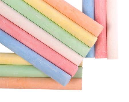 chalks: Colored sidewalk chalks on white.  Stock Photo