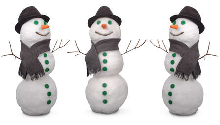 Three white snowman  whith scarf and felt hat. On white background