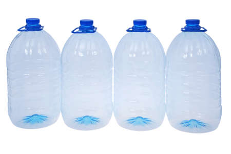 purified: Four big bottles of water isolated on a white. Clipping path included.