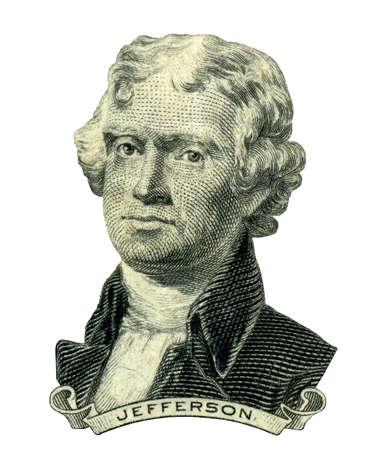 元米大統領 Thomas Jefferson 彼 2 つのドル法案表側に見えるとしての肖像画。クリッピングパスの内側。  写真素材
