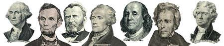 白で隔離のお金からの大統領の肖像画。頭が左になってください。 写真素材