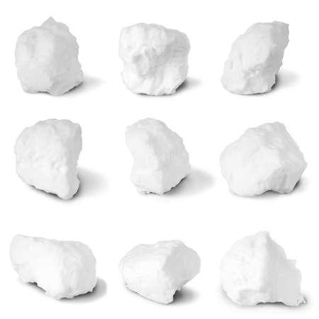 boule de neige: Neuf boules de neige blanc sur blanc. Clipping path s�par�ment pour chaque boule de neige.
