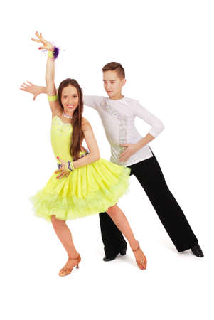 agility people: Boy and girl dancing ballet isolated on white