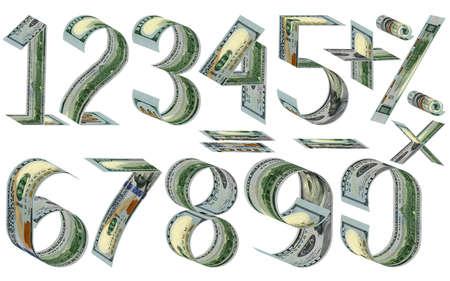 signos matematicos: Números, porcentajes y signos matemáticos de dólares. Hizo de los billetes de cien dólares. Aislado en blanco