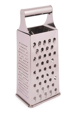 metal grater: One kitchen metal grater isolated on white.