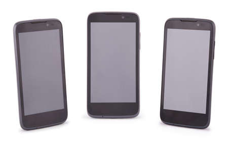 liquid crystal display: Three Smart Phone isolated on white. Six clipping path inside separately for phone and screen.