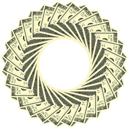 one hundred dollar bill: Circular ornament one hundred dollar bill obverse Stock Photo
