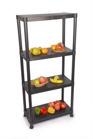 store shelf: Strong metal warehouse shelves filled with fruit isolated on white