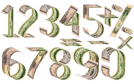 signos matematicos: Números, porcentajes y signos matemáticos de dólares. Hecho de cincuenta billetes de dólar. Aislado en blanco