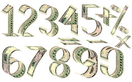 signos matematicos: Números, porcentajes y signos matemáticos de dólares. Hecho de cinco billetes de dólar. Aislado en blanco Foto de archivo