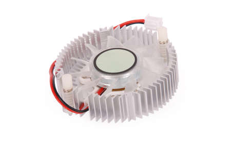 computer cpu: Close-up shot of a computer CPU cooler isolated on white background with soft shadow (Clipping path) Stock Photo