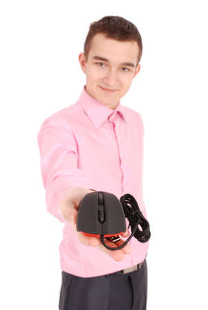 scrollwheel: Young man holds in his hand black computer optical mouse isolated on white background  soft focus
