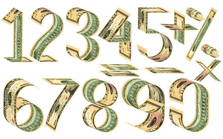 signos matematicos: Numbers, percent and mathematical signs from dollars. Made of ten dollar banknotes. Isolated on white