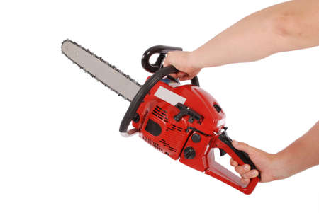 benzine: Showing how to work with chainsaw isolated on white