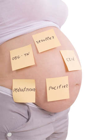 obgyn: ?regnant belly and sticker notes, woman planning tasks isolated on white. Clipping path inside