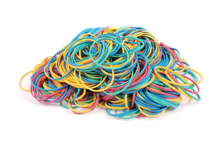 Hobby made of colorful rubber bands for weaving accessories isolated on white background with soft shadow