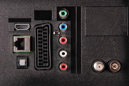 hdmi: TV socket panel, video, audio, LAN, HDMI Stock Photo