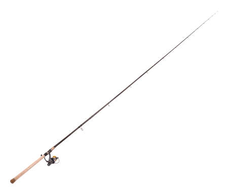 Carp feeder fishing rod in full size image (with the coil) isolated on white background with soft shadow.